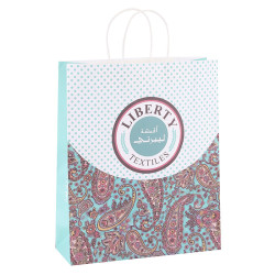 Hospitality Textile Industry Recycled White Kraft Paper Bag Customized With Paper Twisted Handles