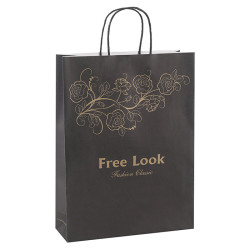 Recycled White Kraft Paper Carrrier Bags With Gold Pantome Color Logo With Twisted Paper Handles