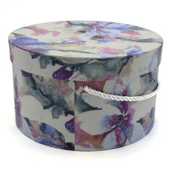 Vintage Cylindrical Gift Packaging Flower Paper Box With Lid Set/3 sizes (watercolor).