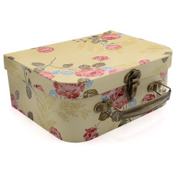 Floral Designer Collection Paperboard Decoration Storage Paperboard Suitcases Set/3 With Antique Brass Handles and Clasp
