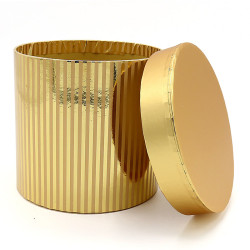 Cylindrical Shaped Glossy Gold Striped Flower Paper Gift Box Set/3