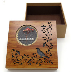 Wholesale Nested Square Gift Boxes Recycled Kraft Paper Boxes With Wooden Carved Lid