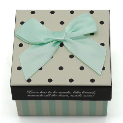 Wholesale Set/3 Square Gift Boxes With Dots and Stripes Designs Blue Bow Attached