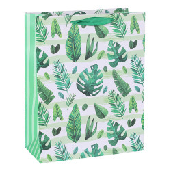 Tropical Leaves and Cactus Paper Gift Bags With Green Glitter On Front Side