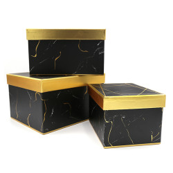Wholesale Square Marble Printing Cardboard Flower Boxes With Gold Lid Stock Available