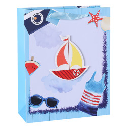 Stock Marine Style Blue Color White Card Paper Bags With Tip-ons On Front Side