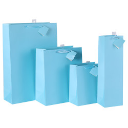 Wholesale Light Blue Paper Gift Bags With Foldable Hangtag And Pvc Hook
