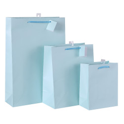 Bulk Wholesale Light Blue Solid Color Paper Shopping Bags Made by Direct Factory Tongle Packing