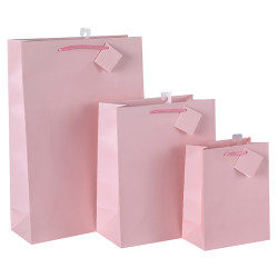 Custom Pink Paper Gift Bags With Foldable Hangtag