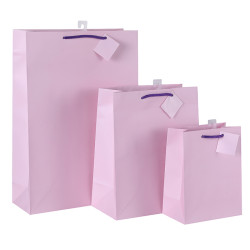 China Factory Directly Sale Custom Printed HotPink White Card Paper Gift ShoppingBag With Handles