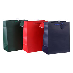 Wholesale Custom Solid Color Paper Gift Bags With Printed Red Blue And Green