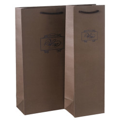 1 Bottle 2 Bottles Wine Gift Bags Made Of Printed Brown Kraft Paper With Embossed And Hot Foil Stamping