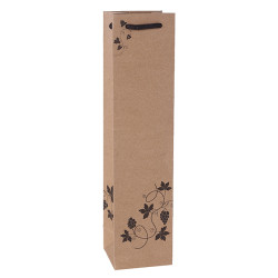 Custom Single Bottle Wine Paper Bags Made Of 210gsm Brown Kraft Paper