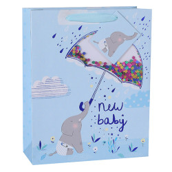 New Concept Baby Shower Paper Gift Bags With Colorful Confetti On Front Side