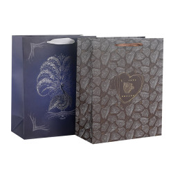 Custom Designed Paper Shopping Bags Front Side With Hot Foil Stamping Made Of 180gsm Art Paper