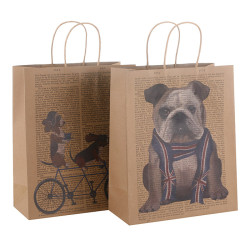 Custom Designed Brown Kraft Paper Carrier Bags With Paper Twisted Handles