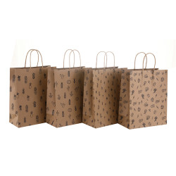 Machine Made Custom Designed Brown Kraft Paper Bags With Paper Twisted Handles 150GSM Thickness