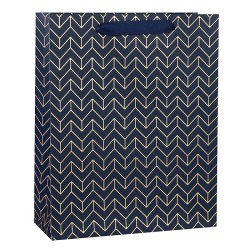 Geometric Patterns Paper Gift Bags For Mens With Hot Foil Stamping On Front Side