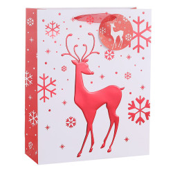 2019 New Christmas Paper Gift Bag With Deep Embossed Hot Foil Stamping