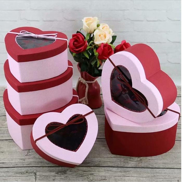 valentine's day heartshaped paper packaging boxes