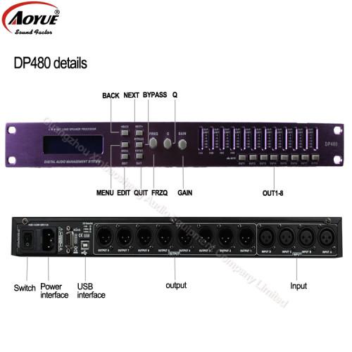 Doble precisión 4 entradas 8 salidas Procesador de audio digital DSP karaoke DP480 / DP448