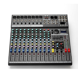12 channel DSP sound effect processors digital phantom 48v powered music audio mixer with bluetooth