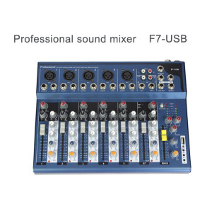 3-Band EQ 48v phantom power mini professional 7 channel sound audio mixer F7 with USB palyer