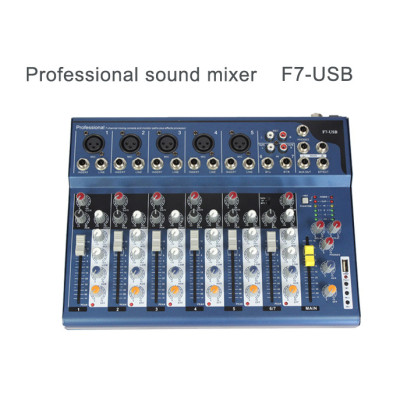 3-Band EQ 48v phantom power mini profesional 7 canales sonido mezclador de audio F7 con USB palyer