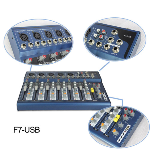 3-Band EQ 48 V Phantomspeisung Mini professionelle 7-Kanal-Audio-Mischpult F7 mit USB-Palyer