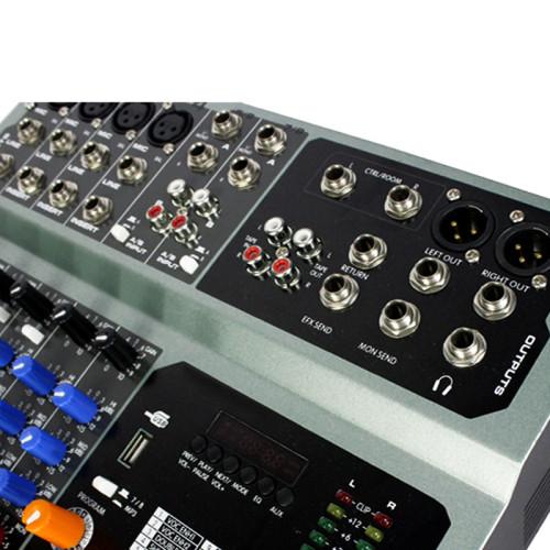 Amplificador de potencia incorporada multifuncional DJ audio PV8P Mezclador de sonido USB con MP3