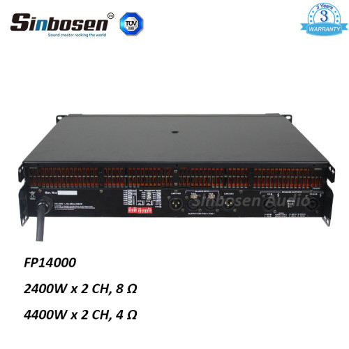Sinbosen FP14000 4400w Amplificatore a 2 canali ad alta potenza per doppio basso 18 pollici