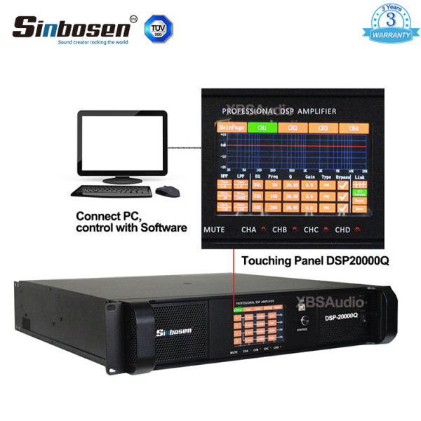 Sinbosen DSP20000Q 2200w Amplificatore professionale DSP 20000q a 4 canali per subwoofer