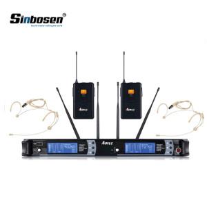 Kablosuz Bodypack Verici ile kulak kancalı Headworn Kulaklık Tek Yönlü UHF Mikrofon