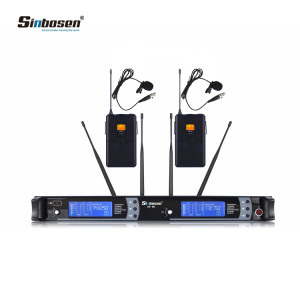 2x100 Kanal UHF Wireless Revers Headset Lavalier Mikrofon Mic System