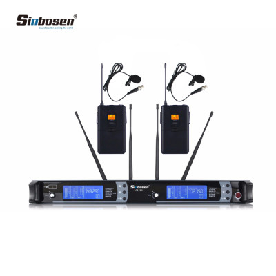 2x100 Channal UHF Wireless Lapel Headset Lavalier Microphone Mic System
