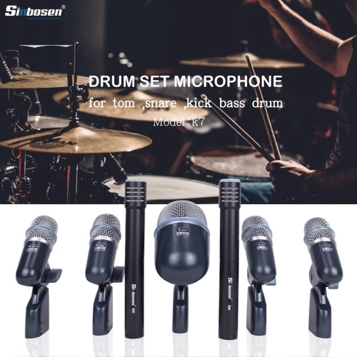 Condensatore 7 pezzi + microfono dinamico per strumenti per batteria