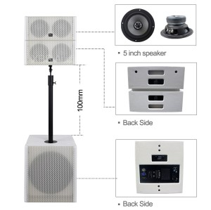 Professional Mini Sound System Double 5 inch coaxial Speaker Passive & Active Line Array