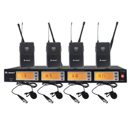 4 channel bodypack collar clip wireless microphone