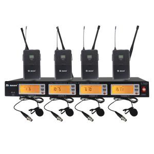 4 canais bodypack colar clipe microfone sem fio