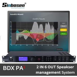 El altavoz digital de audio profesional de 2 entradas y 6 salidas administra el procesador BDX PA2