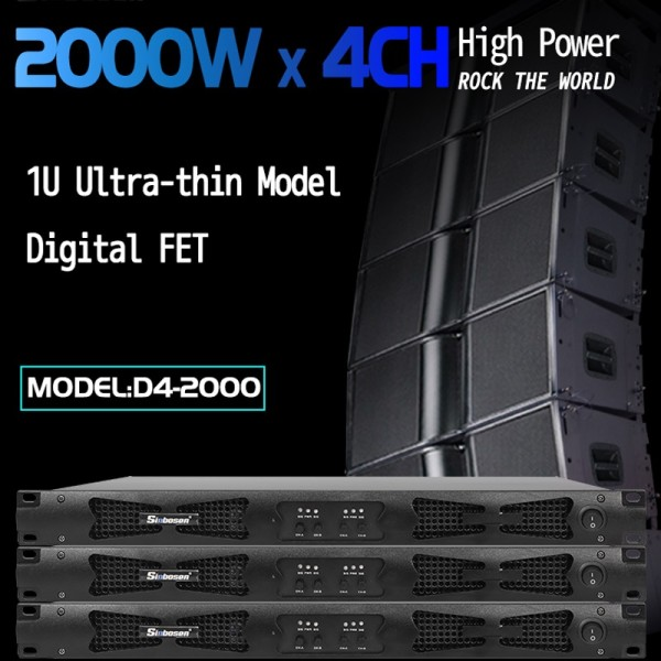 Sinbosen 2 ohm stable 4760 watts 4CH class d digital high power amplifier D4-2000