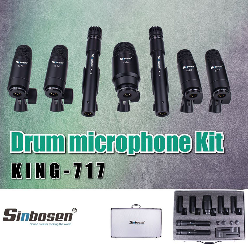 King 717 Drum Mic Set System Wired Microphone