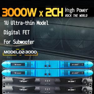7140 vatios 2CH clase d amplificador de potencia D2-3000 para subwoofer estable de 2 ohmios