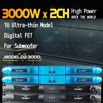 7140 watts 2CH class d power amplificador D2-3000 for subwoofer 2 ohm stable