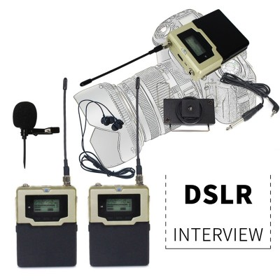 Wireless bodypack interview microphone for mobile dslr camera