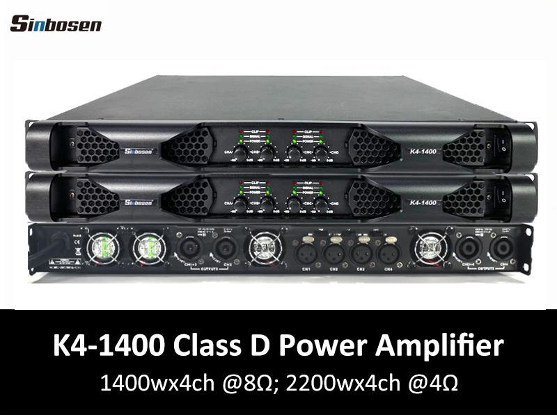 Sinbosen K4-1400 Amplificatore di potenza professionale in classe D a 4 canali da 1400 Watt