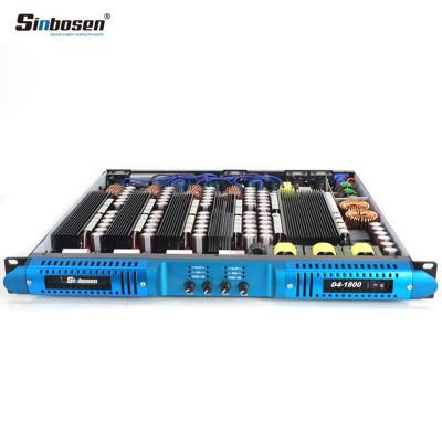Sinbosen 2 ohm stable 4300 watts 4 input 4 output class d digital audio power amplifier D4-1800