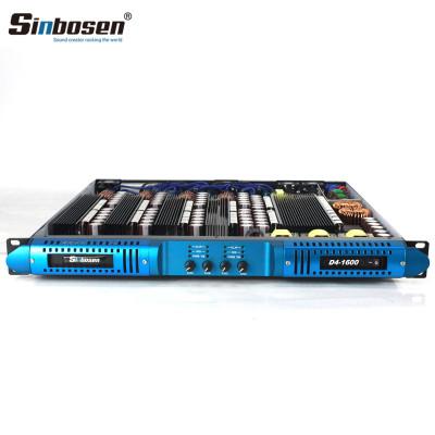 Sinbosen 2 ohm stable 3900 watts 4 input 4 output class d digital audio power amplifier D4-1600 for speaker