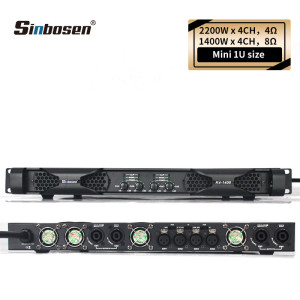 Sinbosen k4-1400 1400 watt 4 channel professional 1u class d power amplifier