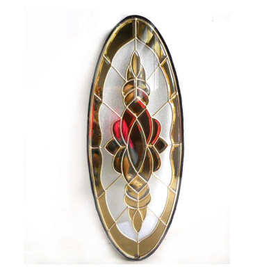 insulated decorative stained oval glass door inserts
